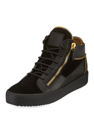 men's Velvet & Leather Zipper Mid-Top Sneaker