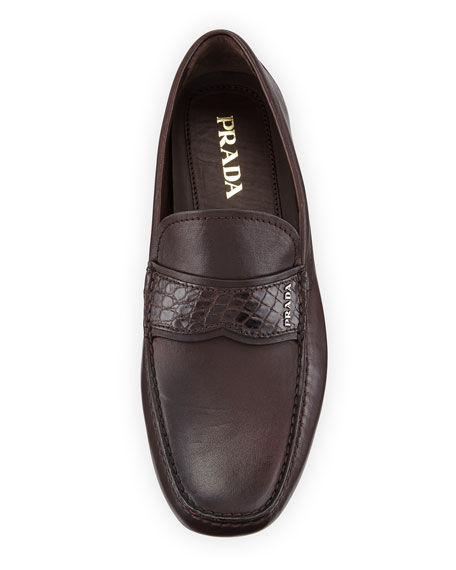 Crocodile-Trim Leather Moccasin