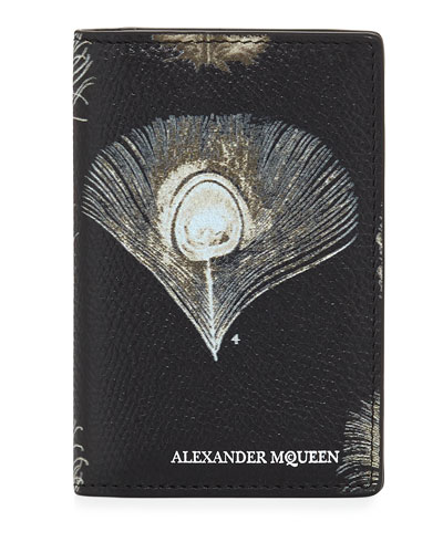 Peacock Feather Leather Organizer, Black