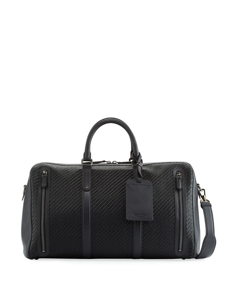 Image 1 of 1: Pelle Tessuta Woven Leather Duffel Bag
