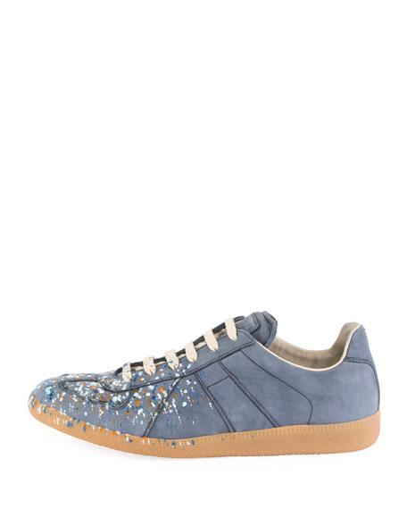 Replica Paint-Splatter Suede Low-Top Sneaker, Blue