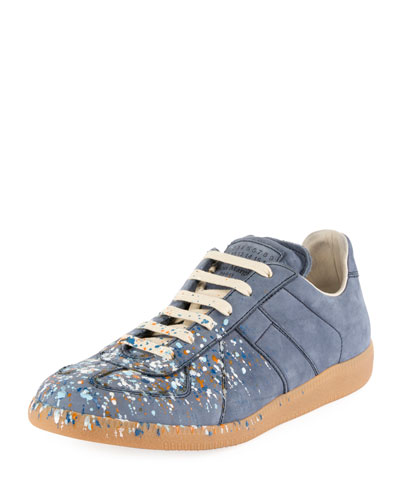 Replica Paint-Splatter Suede Low-Top Sneaker, Blue