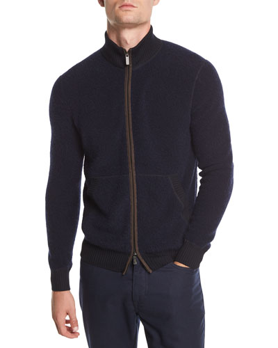 Boucle Zip Bomber Sweater with Leather Detail