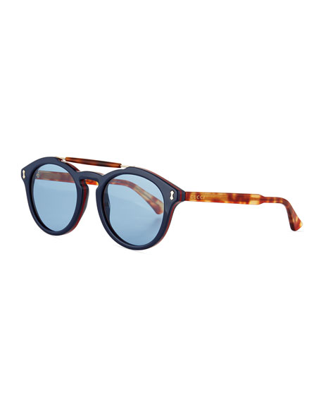 Vintage Round Acetate Sunglasses, Blue