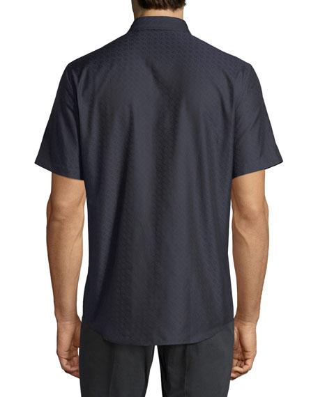 Men's Gancini-Jacquard Short-Sleeve Sport Shirt, Navy