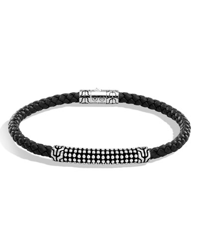 Men's Classic Chain Jawan Braided Leather & Sterling Silver Bracelet