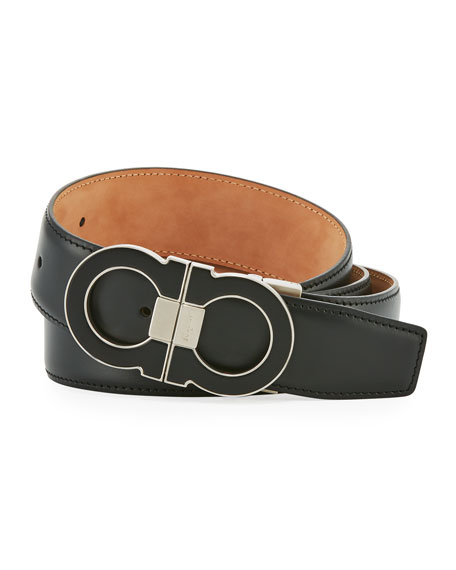 Salvatore Ferragamo Leather Double Gancini-Buckle Belt, Black