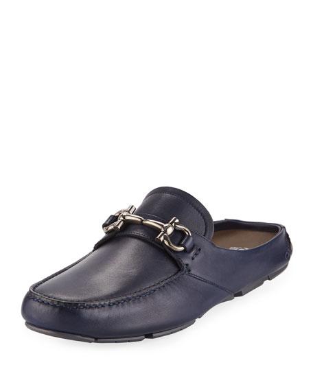 Men's Leather Gancini-Bit Mule Slide, Navy