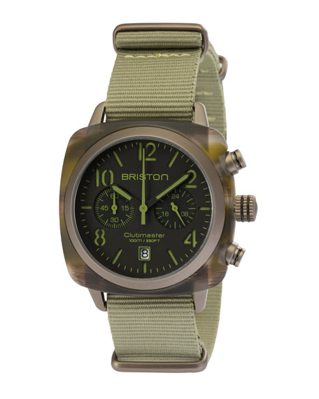 Clubmaster Classic Chronograph Watch, Brown/Green