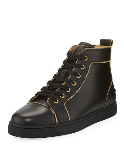 Louis Z Men's Zip-Trim Leather High-Top Sneaker
