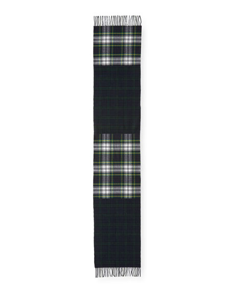 Men's Wool Vintage Check Scarf, Green