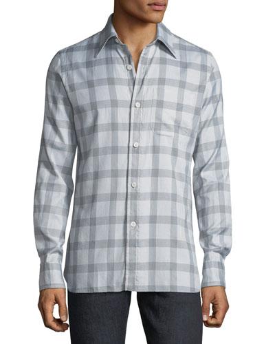 Men's Houndstooth Plaid Cotton Dress Shirt
