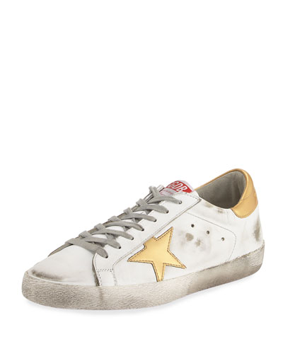 Men's Distressed Star Leather Low-Top Sneaker, White