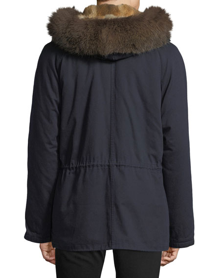 Cotton Jacket w/ Fur Details
