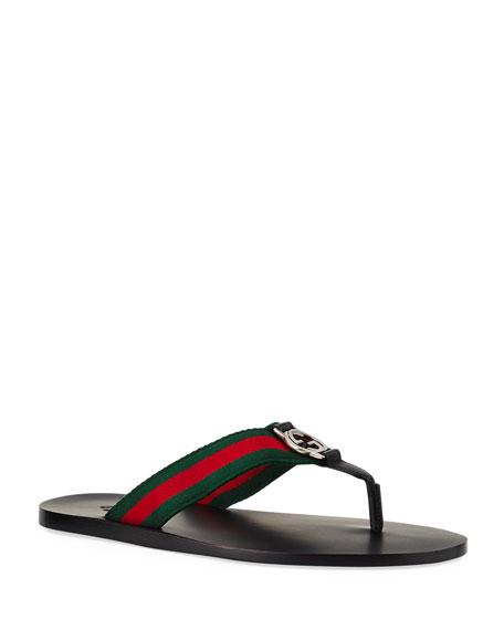 Gucci Gg Line Signature Web Thong Sandal In Black  56bb4f2ec90b