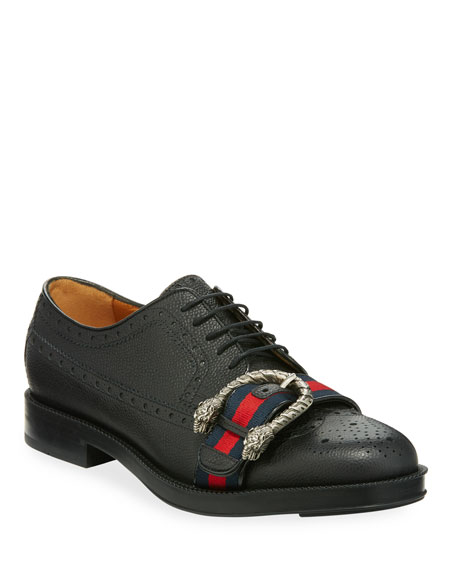 Gucci Leather Brogue Shoe with Web
