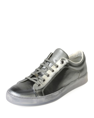 Men's Reflective Leather Low-Top Sneaker