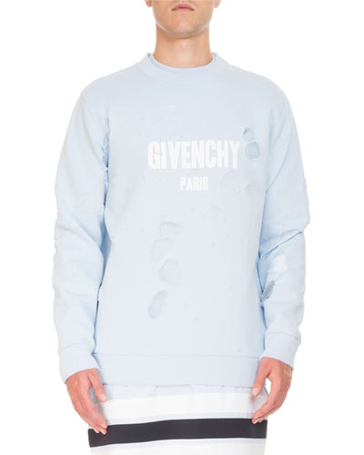 Distressed Logo Oversized Sweatshirt