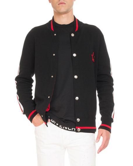 Logo-Back Knit Bomber Jacket