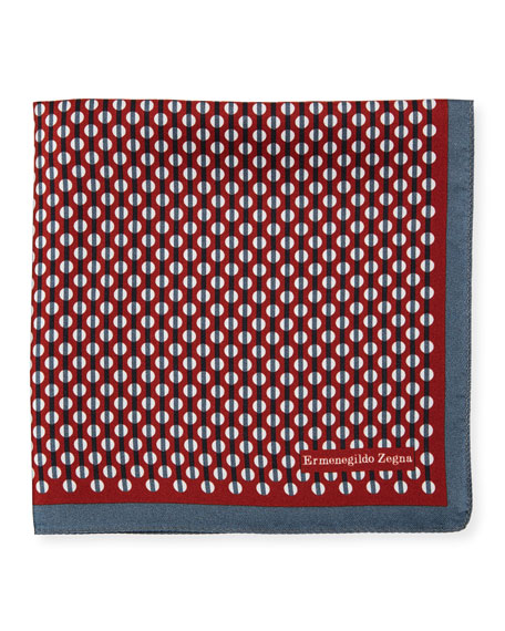 Ermenegildo Zegna Circular-Pattern Silk Pocket Square
