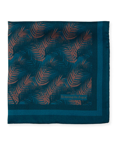 Palm Leaves Silk Pocket Square