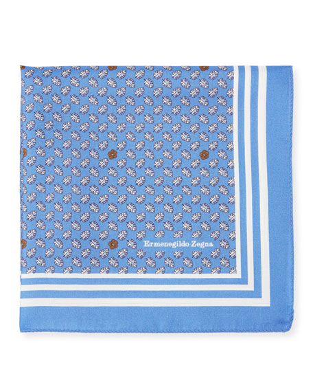 Small Leaves Silk Pocket Square, Blue