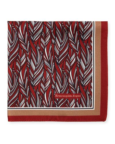 Tonal Leaves Silk Pocket Square, Red