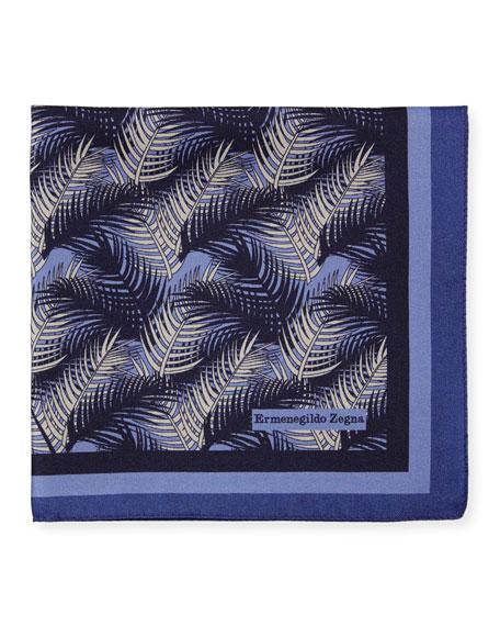 Ermenegildo Zegna Palm Leaves Silk Pocket Square, Blue