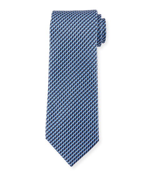 Printed Striped Stairs Silk Tie, Blue