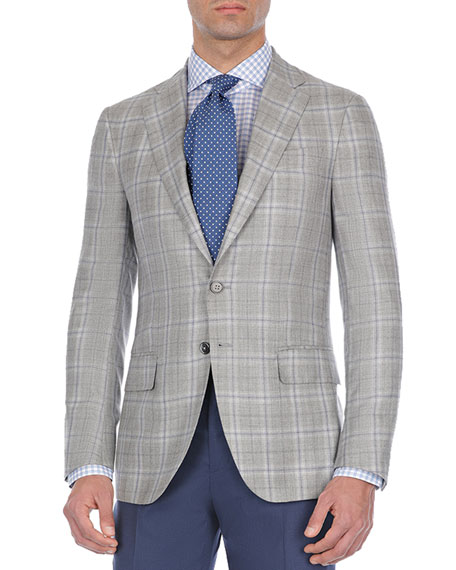 Windowpane Plaid Cashmere-Blend Sport Coat