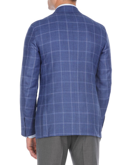 Windowpane Plaid Wool-Blend Sport Coat