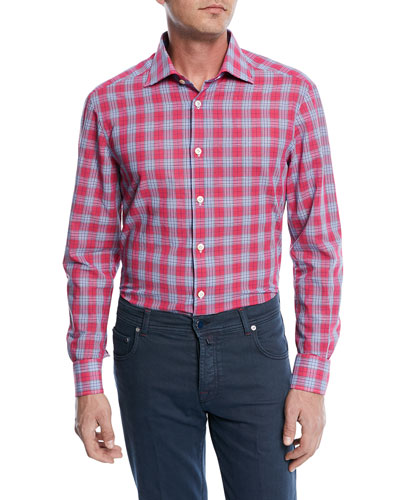 Cotton/Linen Plaid Sport Shirt