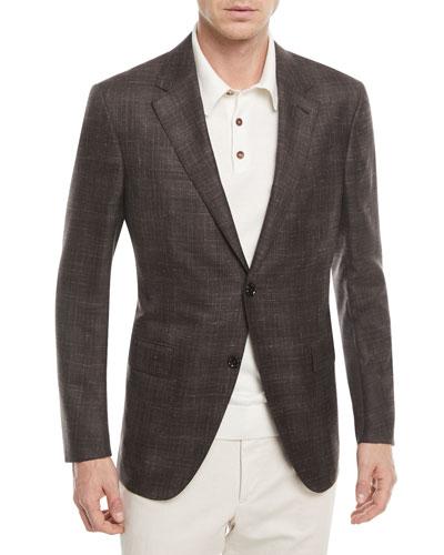 Plaid Cashmere-Blend Two-Button Blazer