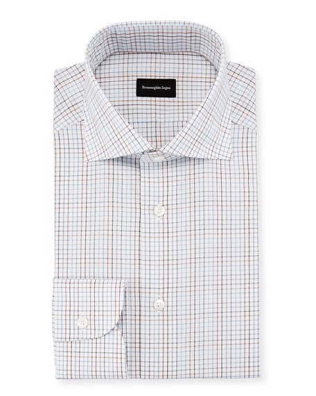 Graph Check Dress Shirt, Brown/Blue