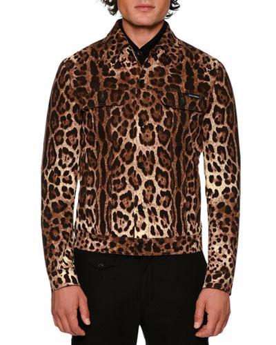 Leopard-Print Twill Jean Jacket