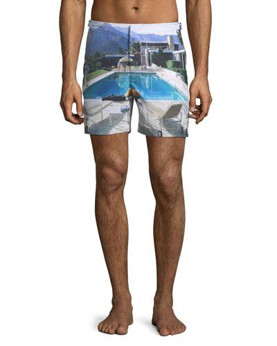 Bulldog Poolside Printed Swim Trunks, Multi