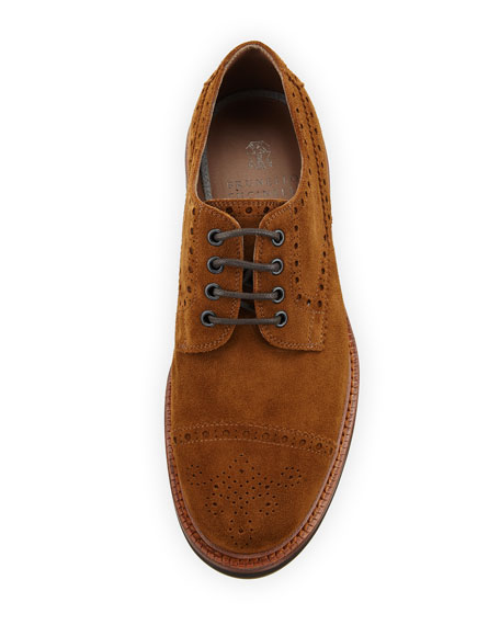 Men's Lace-Up Suede Brogue Sneakers