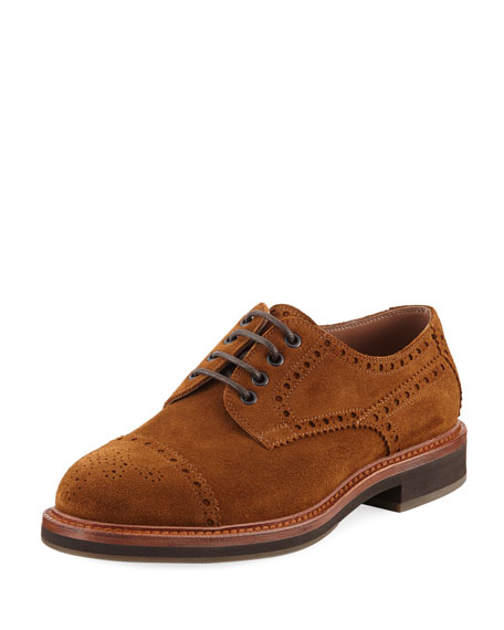 Lace-Up Suede Brogue Sneaker