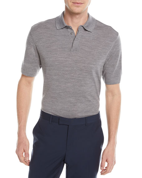 Image 1 of 1: Heathered Wool Polo Shirt