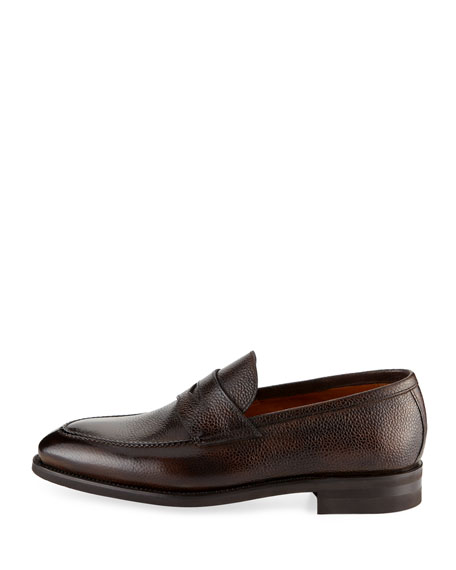 Grained Leather Penny Loafer