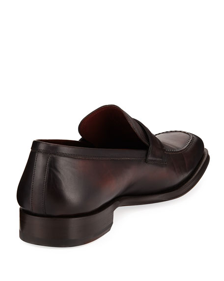 Apron-Toe Leather Penny Loafer