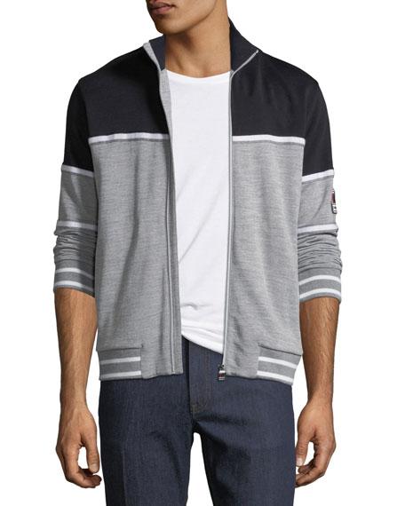 Tricolor Zip-Front Sweater