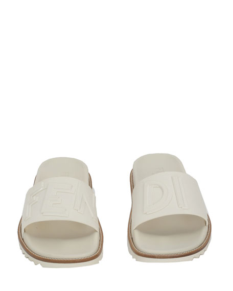 dcd4325b8444 Fendi Rubber Slide Sandals w  Raised Logo Detail