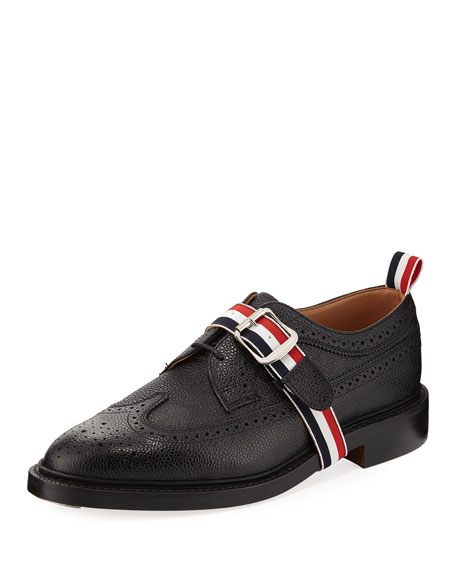 cb93bbec62 Thom Browne Classic Long Wing Brogue Shoe with Striped Trim
