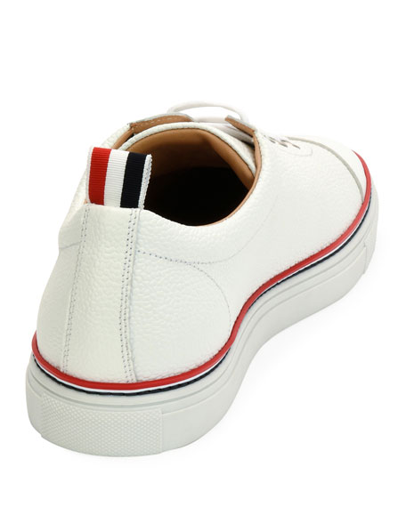 Cap-Toe Striped-Trim Low-Top Leather Sneaker