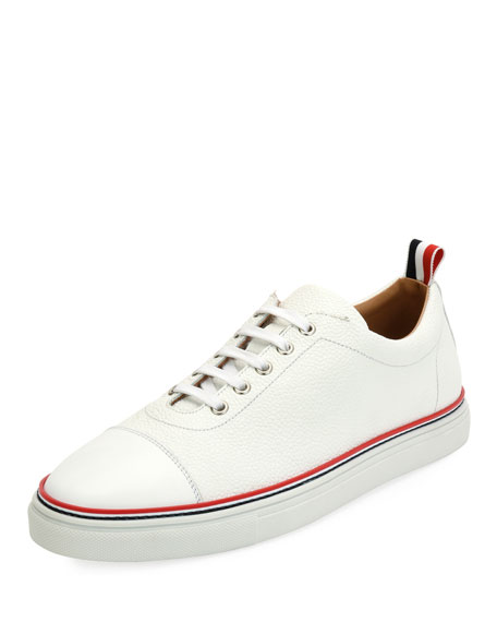 Men's Cap-Toe Striped-Trim Low-Top Leather Sneakers