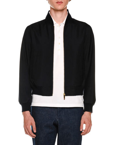 Ribbed Blouson Bomber Jacket