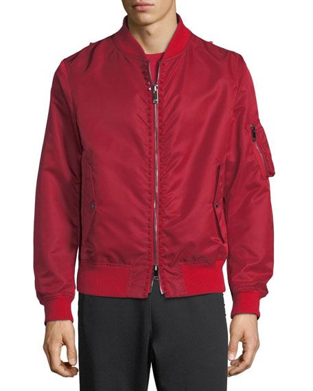Studded Cotton-Blend Bomber Jacket
