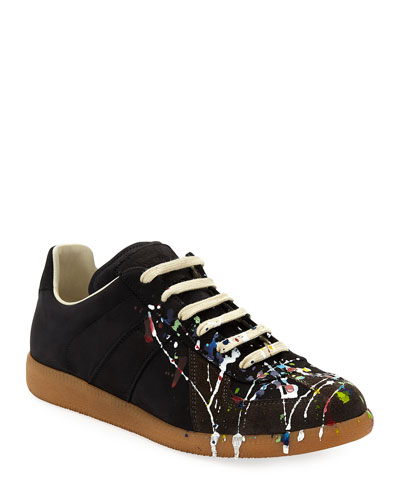 Splatter-Print Painter Low-Top Sneaker, Black Pattern