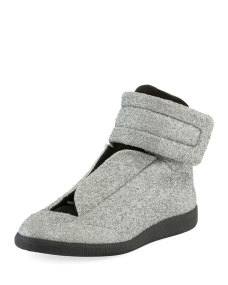 Glitter Future High-Top Sneaker, Silver